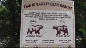 Grizzly Bear Habitat Sign