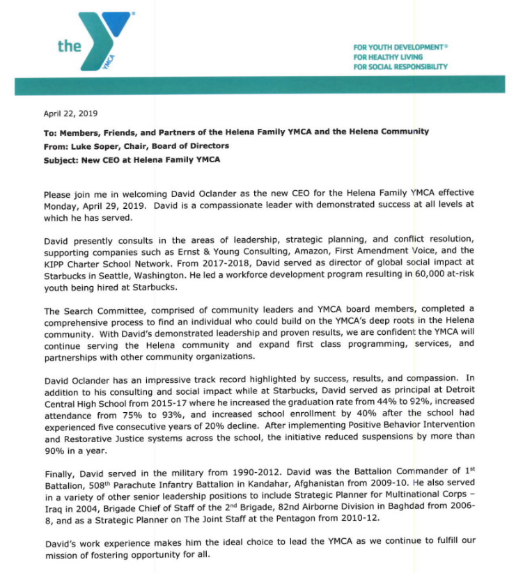 Helena YMCA welcomes new CEO